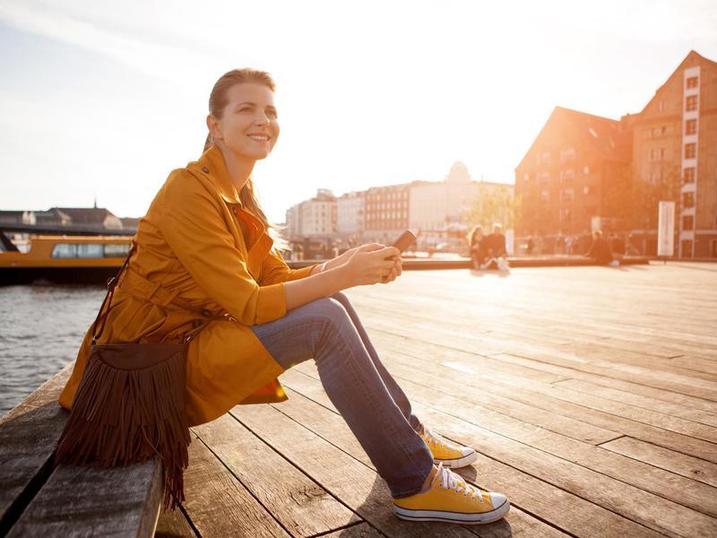 Happy woman in Denmark