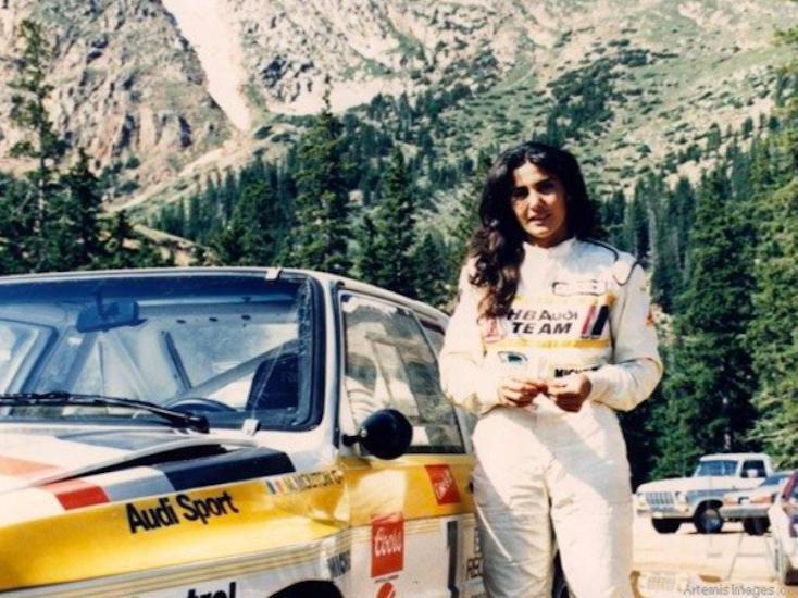 Michèle Mouton poses by car