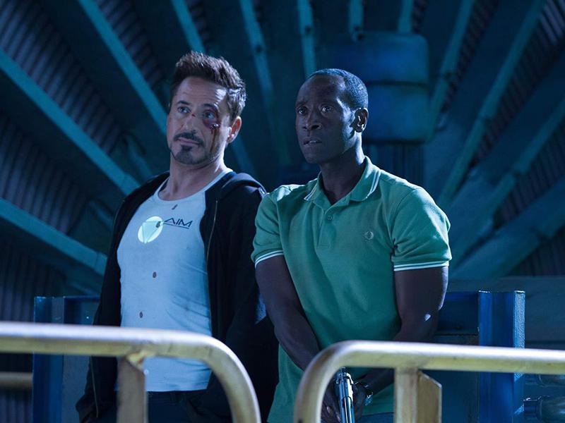 Don Cheadle and Robert Downey Jr. in Iron Man Three (2013)