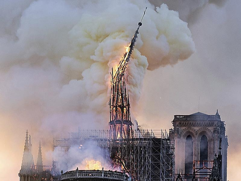 Spire in flames