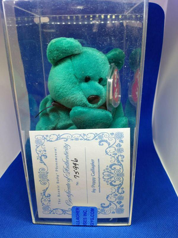 Teal New Faced Teddy Beanie Baby