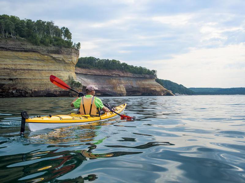 Kayaker in National Lakeshore, Wisconsin