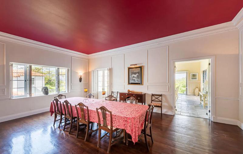 Dining room with hardwood floors and red ceiling