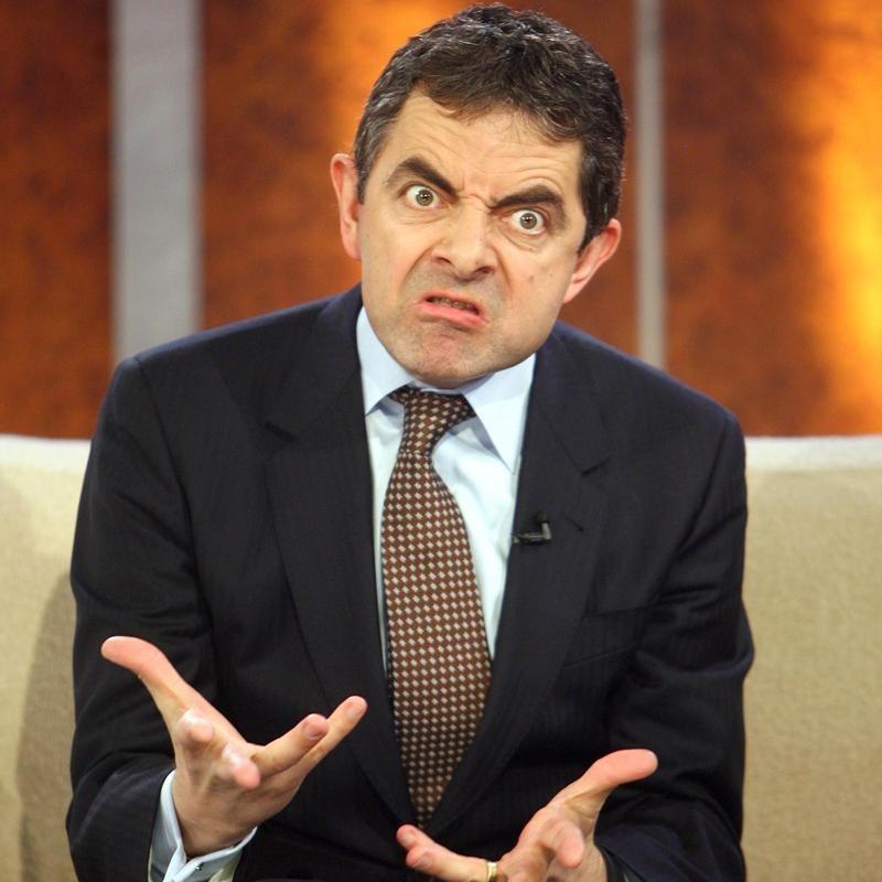Rowan Atkinson makes grimace at German TV show