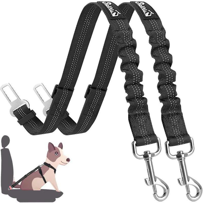 Dual pack of black seat belts for dog car harness