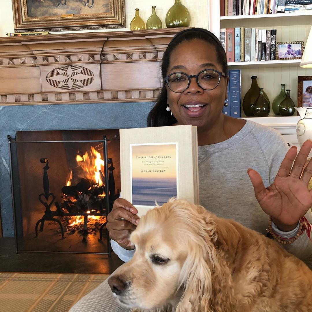 Oprah at home with her dog