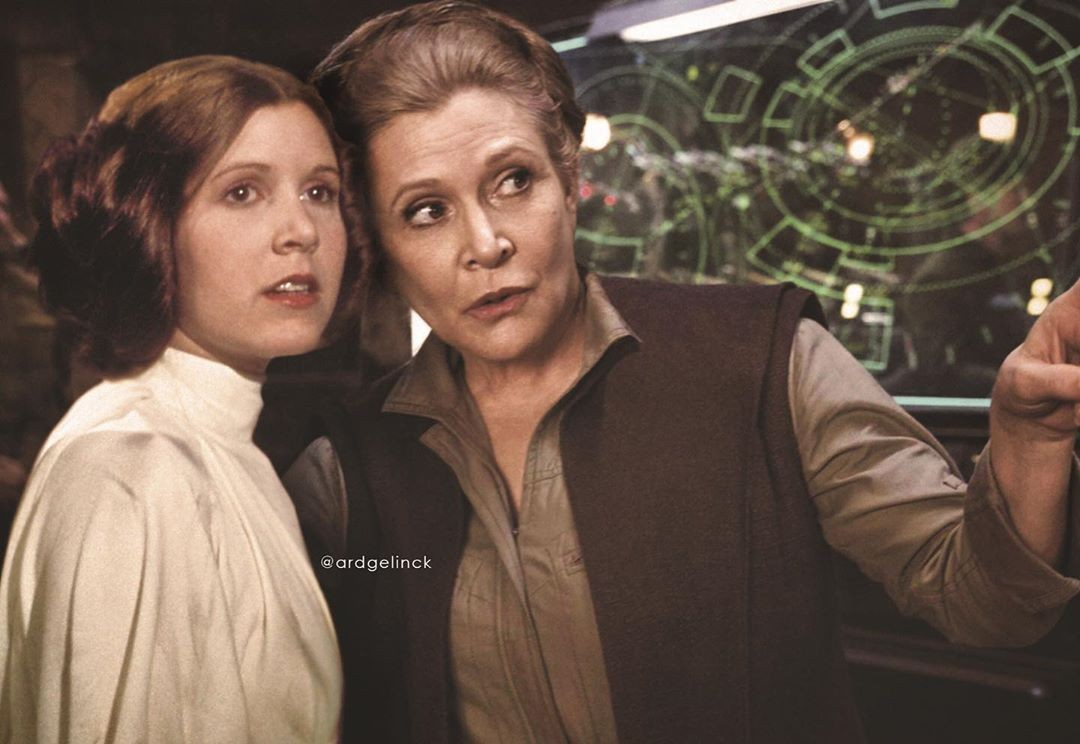 Carrie Fisher as Princess Leia young and old