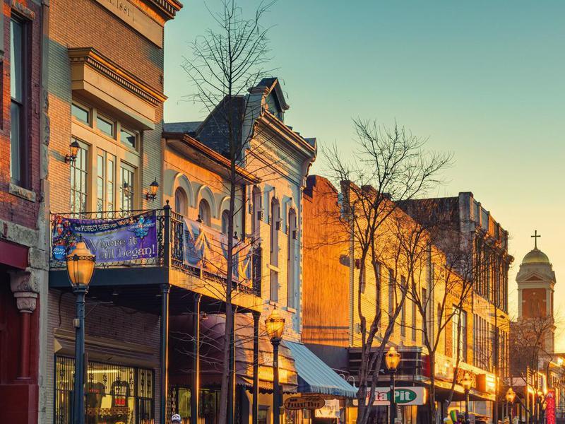 Historic Downtown Mobile Alabama USA at Sunset