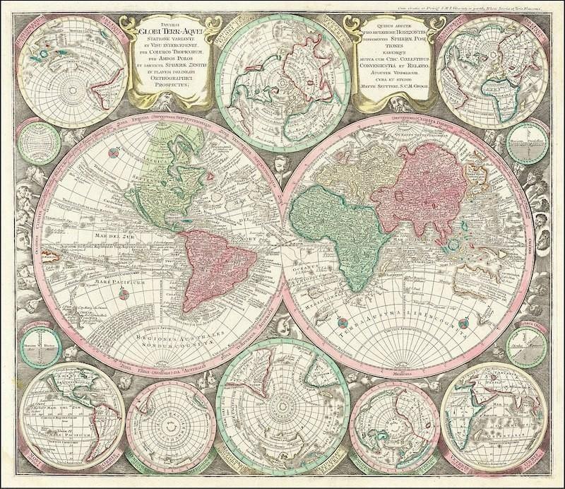 1730 double hemisphere map
