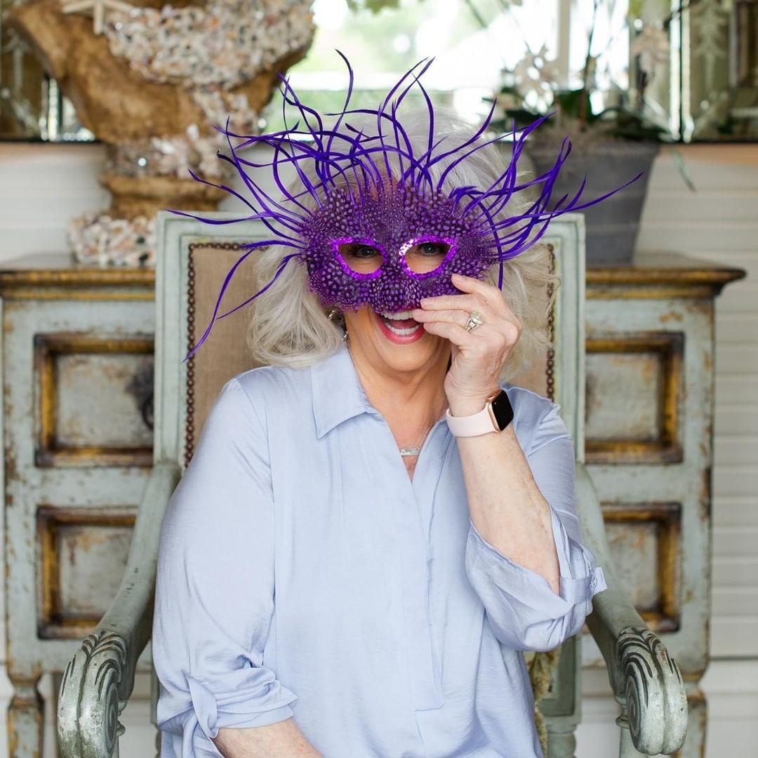 Paula Deen with a mask