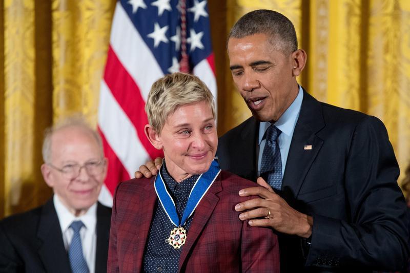 President Barack Obama presents the Presidential Medal of Freedom to Ellen DeGeneres