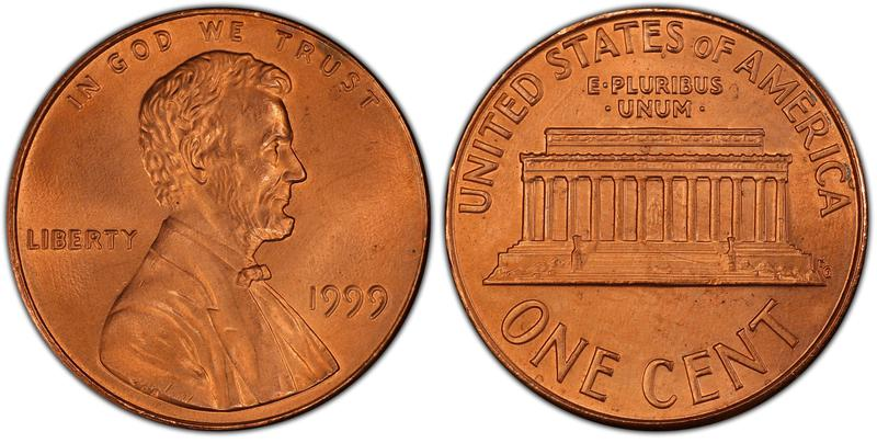 """1999 U.S. Wide """"AM"""" Reverse Lincoln Penny"""