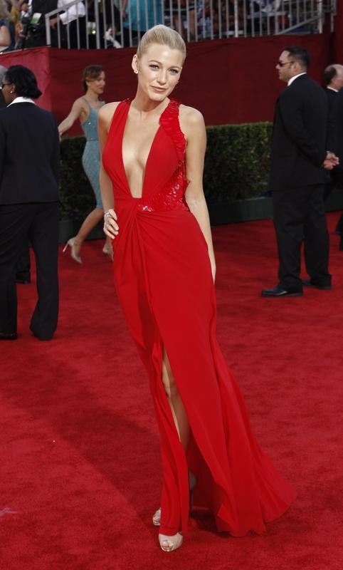 Blake Lively poses at the Emmy Awards