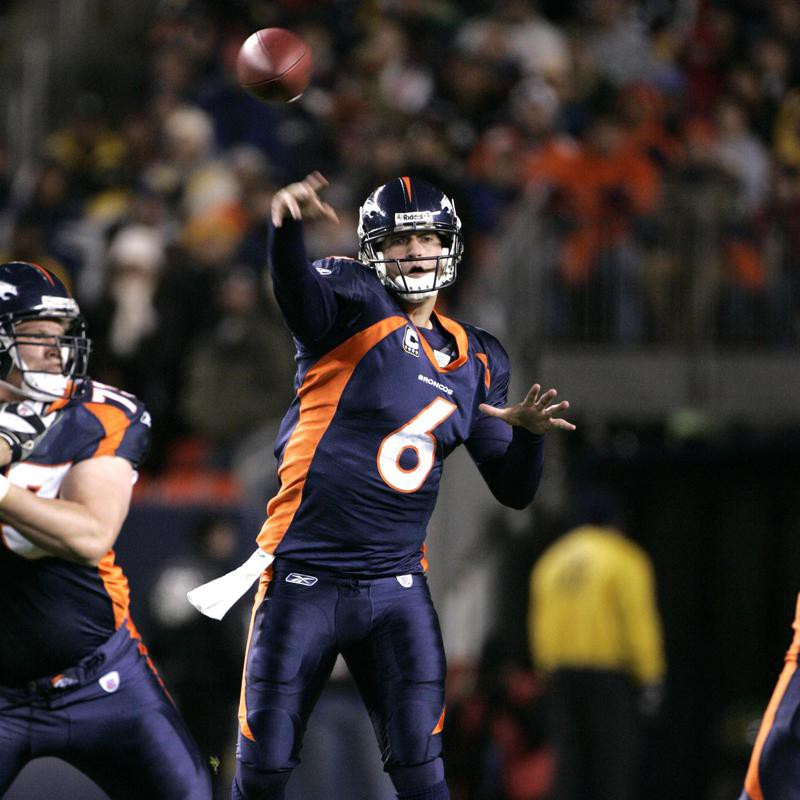 Jay Cutler of the Denver Broncos throws against the Pittsburgh Steelers