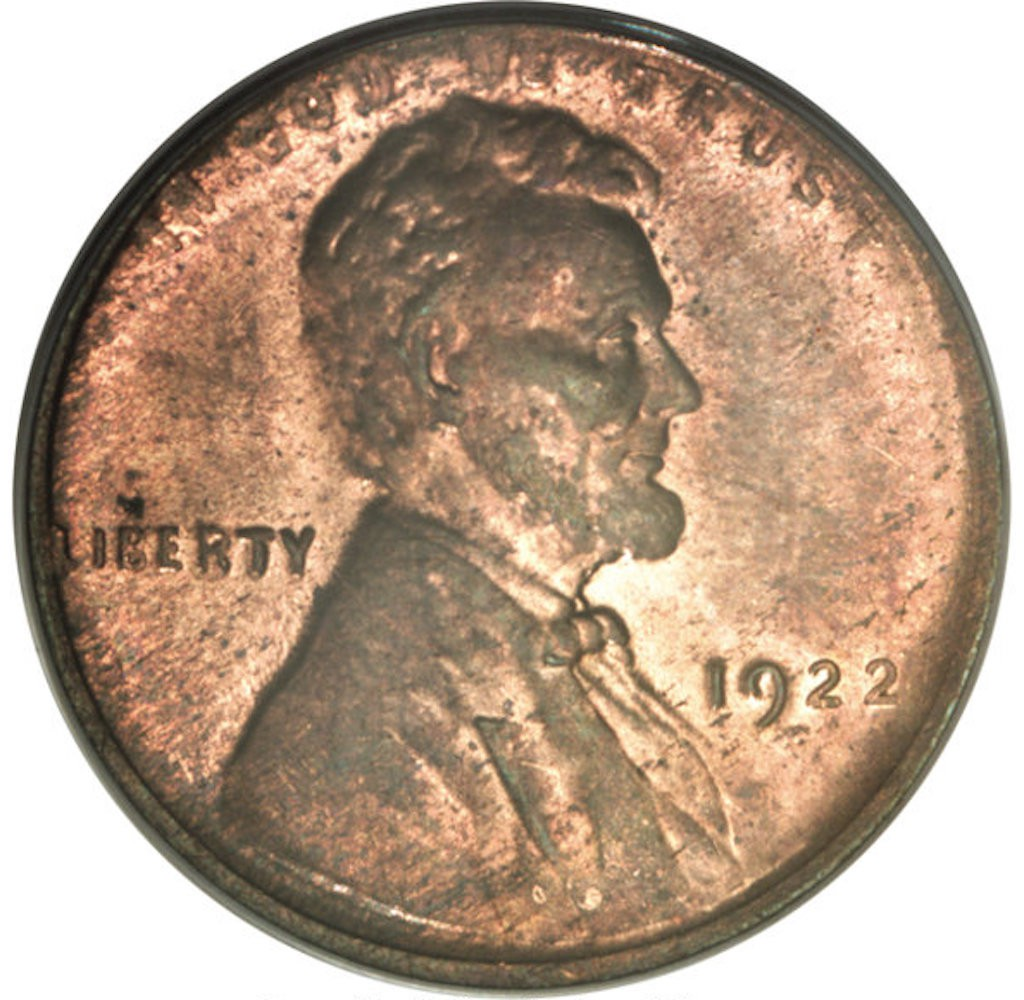 1922-D Lincoln, No D, Strong Reverse, Die Pair 2