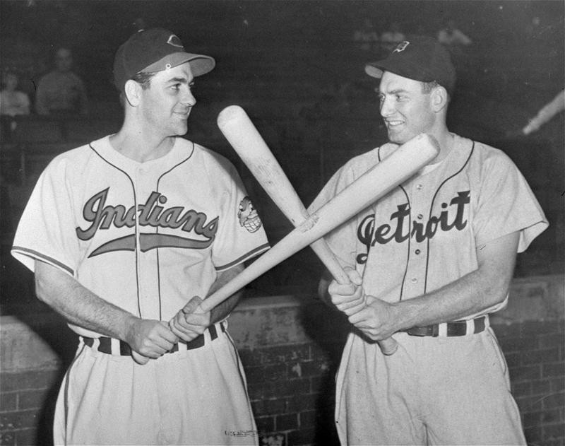 George Kell poses with Lou Boudrea