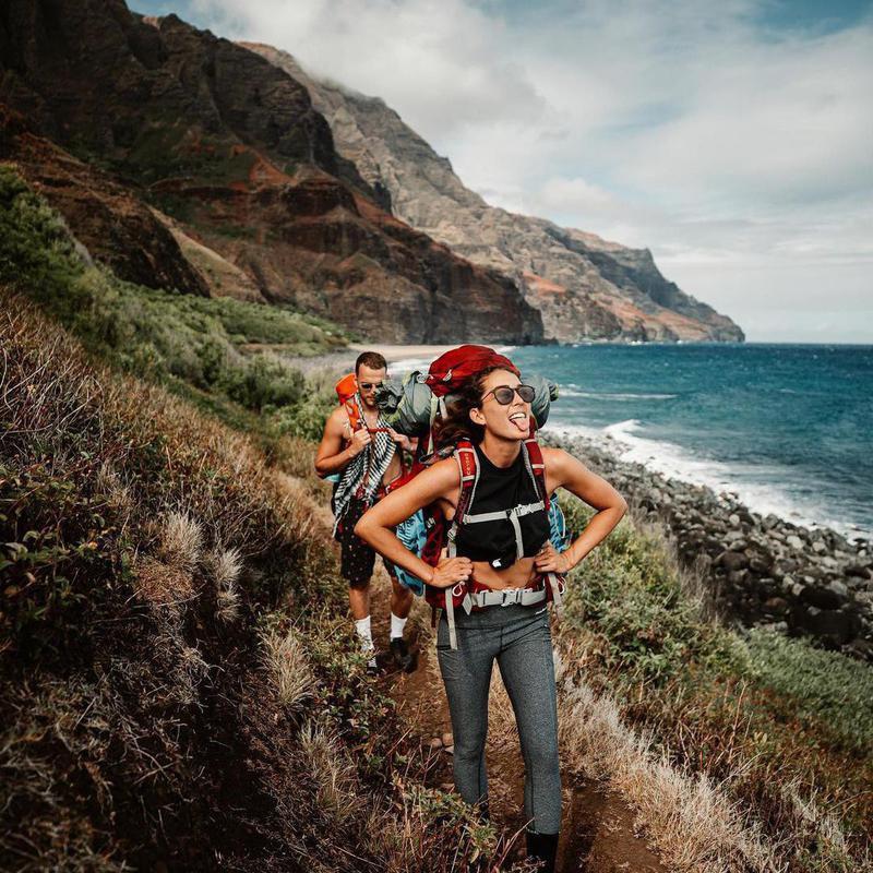 Couple hiking in Hawaii