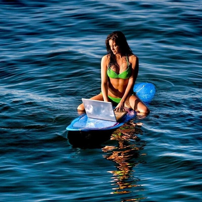 Working on a paddleboard