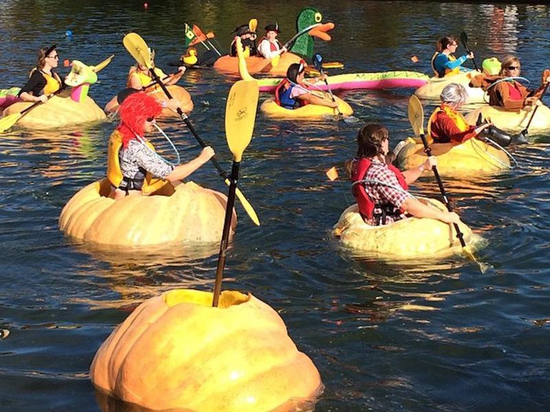 Giant pumpkin kayaking