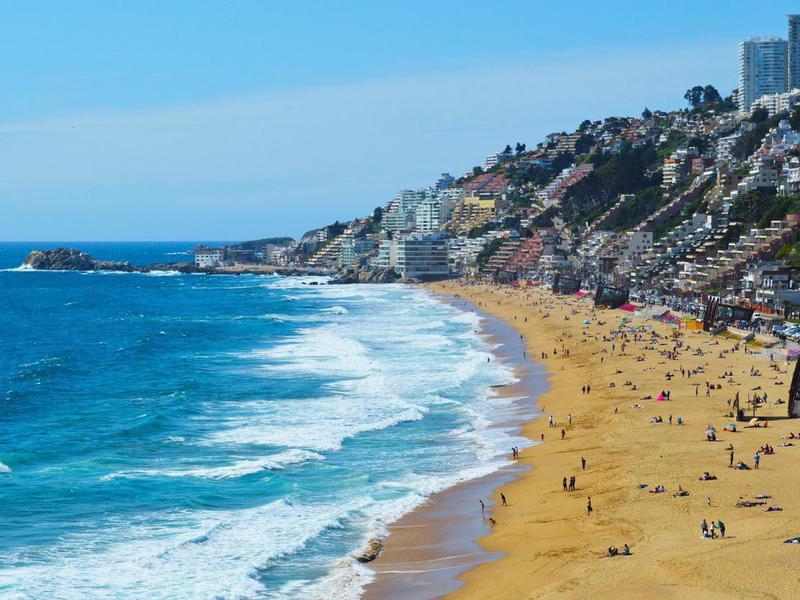 Reñaca Beach in Viña del Mar, Chile