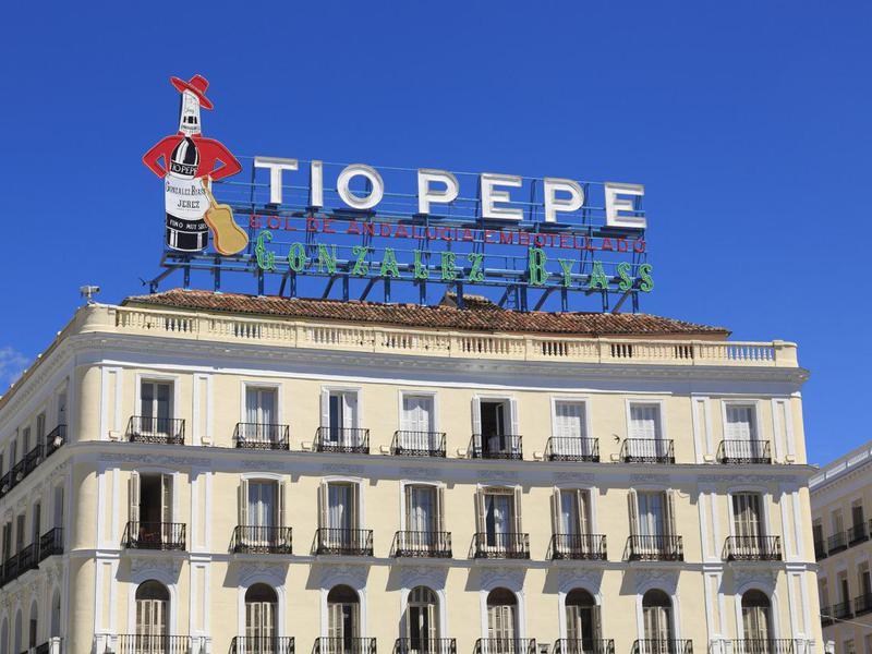 Tio Pepe sign in Puerta del Sol, Madrid