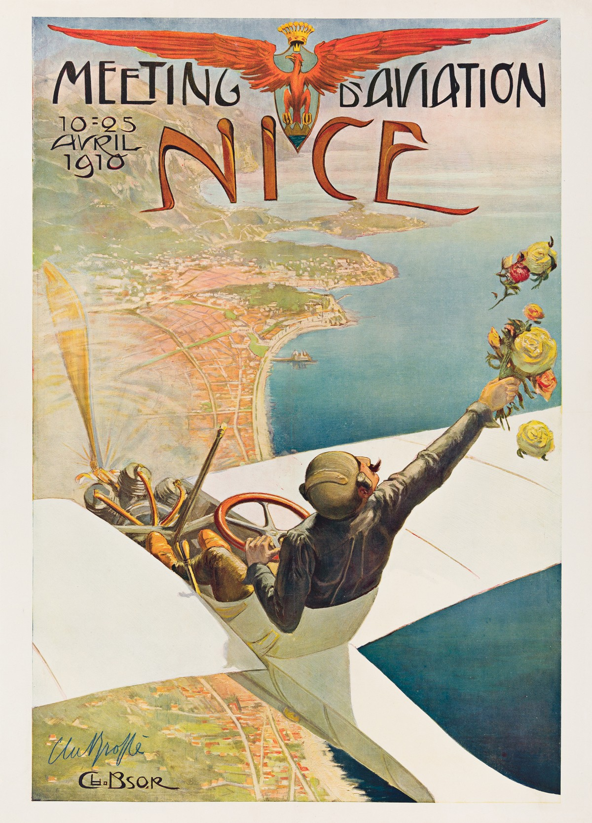 Vintage flight ad for Nice, France