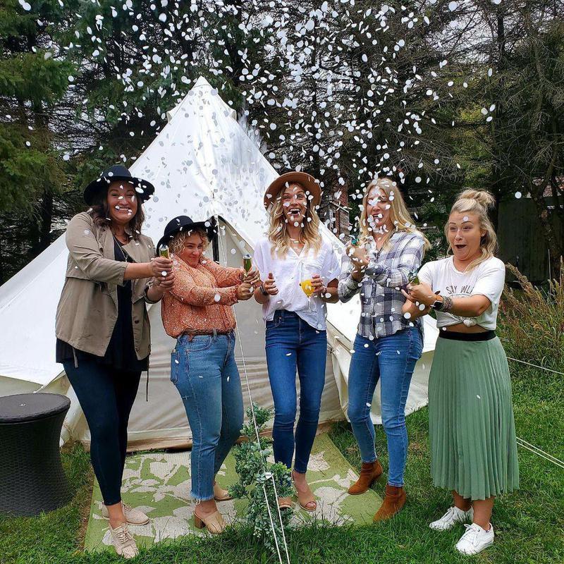 Group of women glamping