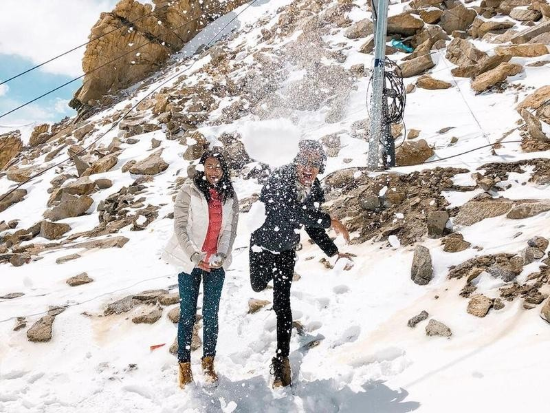 Snowball fight in Ladakh, India