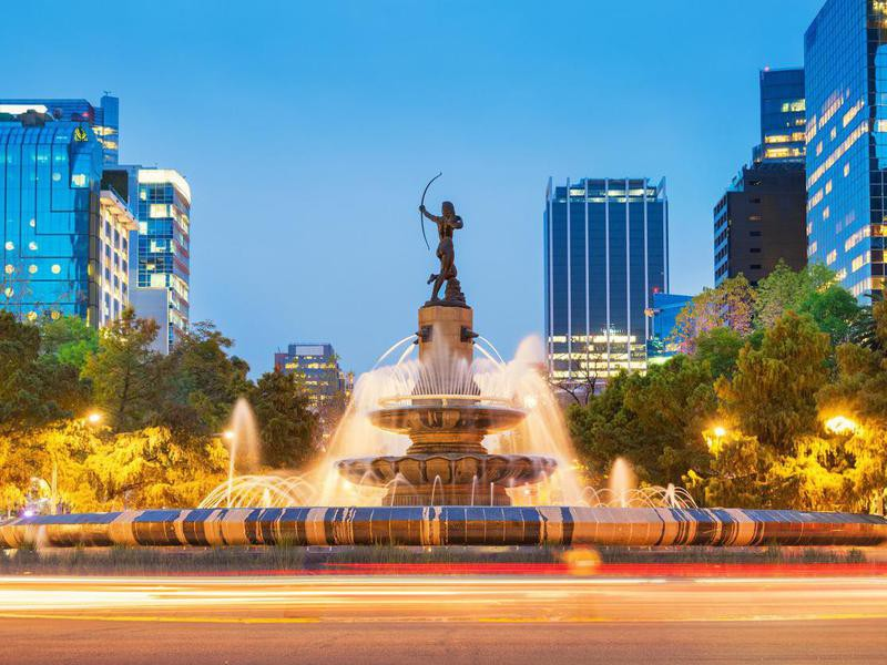 Diana the Huntress Fountain in Downtown Mexico City
