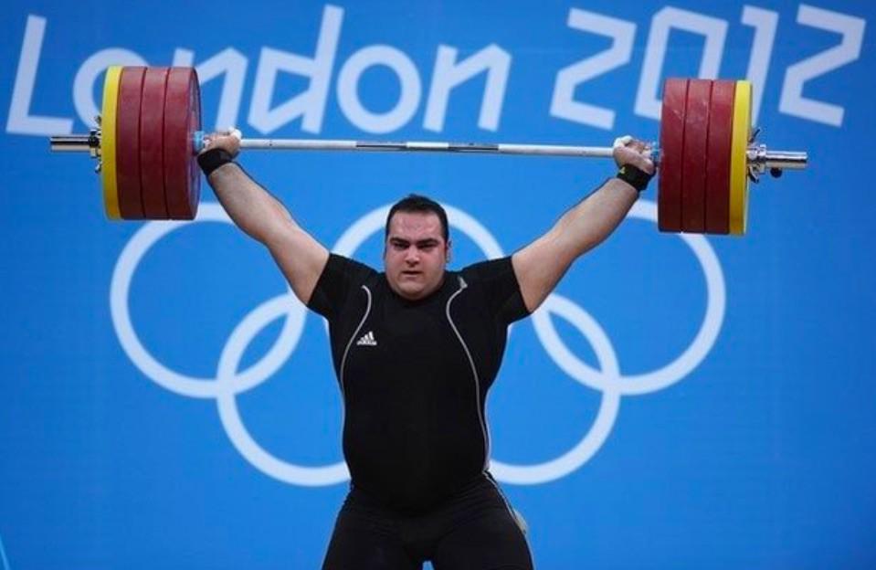 Behdad Salimi lifting in London Olympics