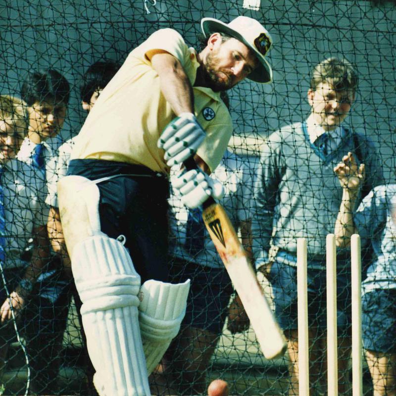 Alan Border practices batting
