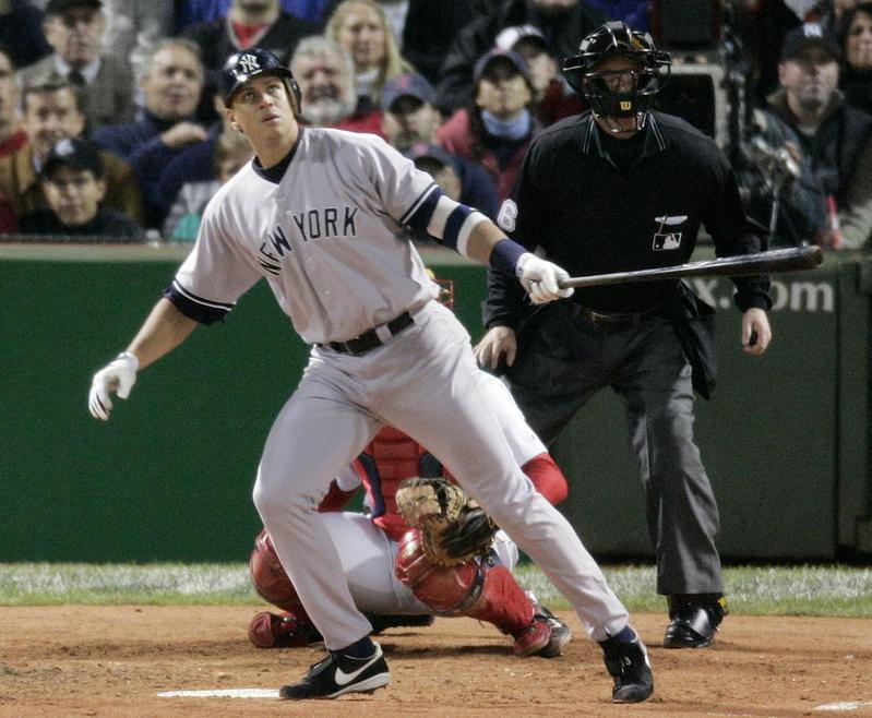 Alex Rodriguez watches home run