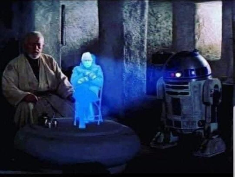 """Bernie Sanders with Obi-Wan Kenobi and R2-D2 in """"Star Wars"""""""