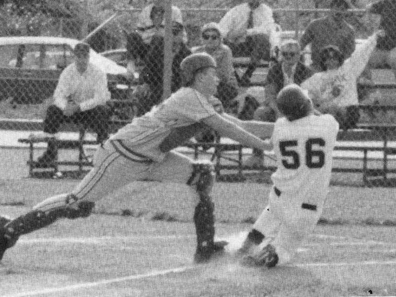 Tom Brady playing catcher in high school