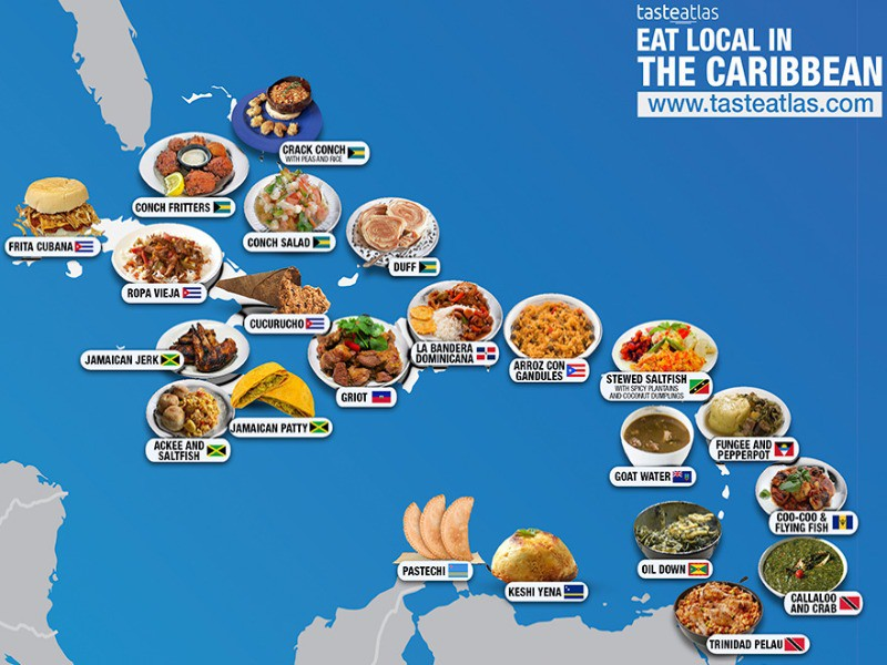 Caribbean food map