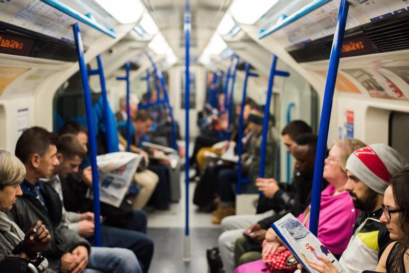 Inside a London underground train