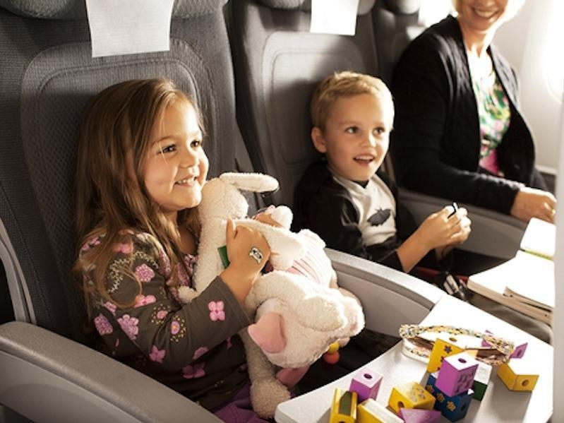 kids flying on plane