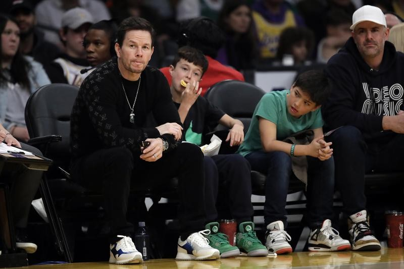 Mark Wahlberg at a Los Angles Lakers-Boston Celtics game in Los Angeles