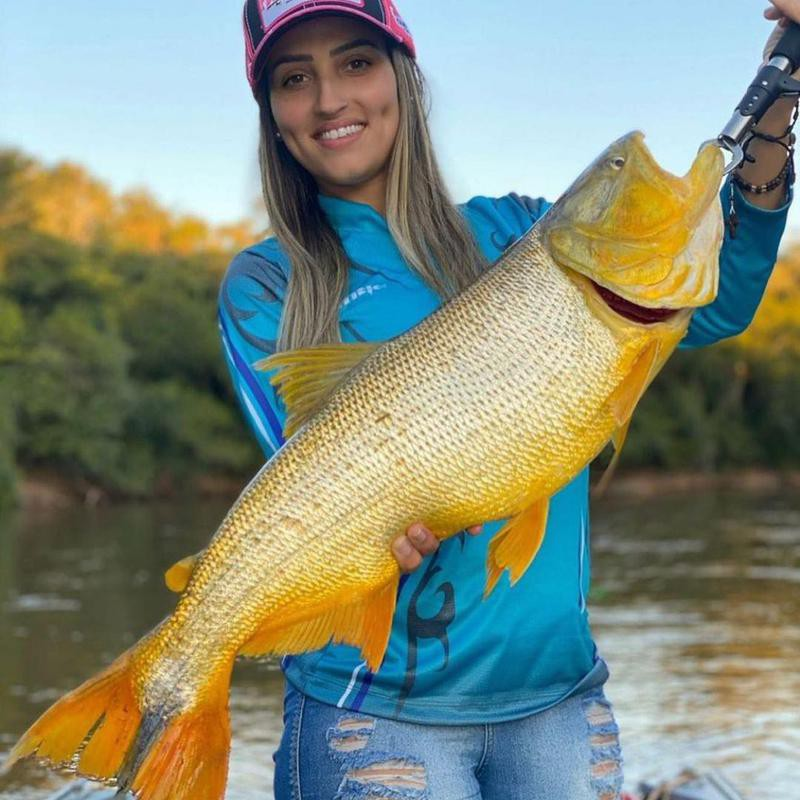 Woman fishing in Brazil