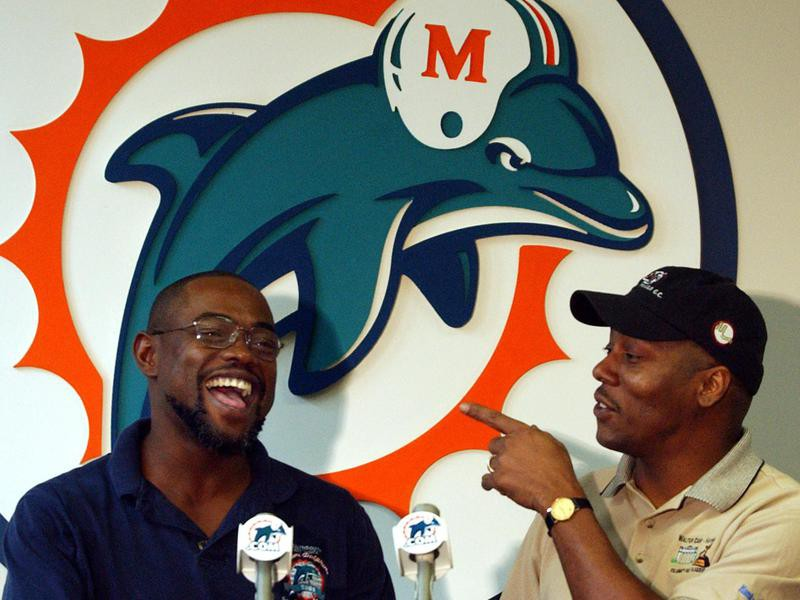 Mark Duper and Mark Clayton laugh at press conference