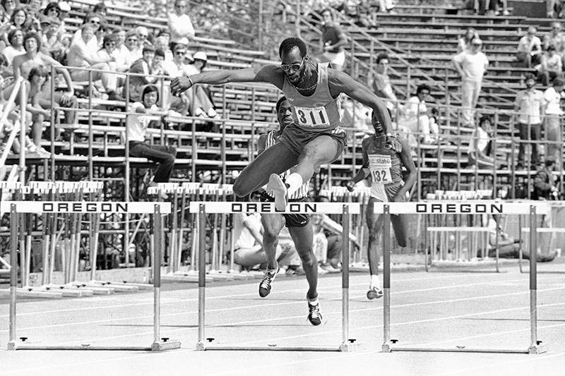 Edwin Moses at the 1980 Olympic trials