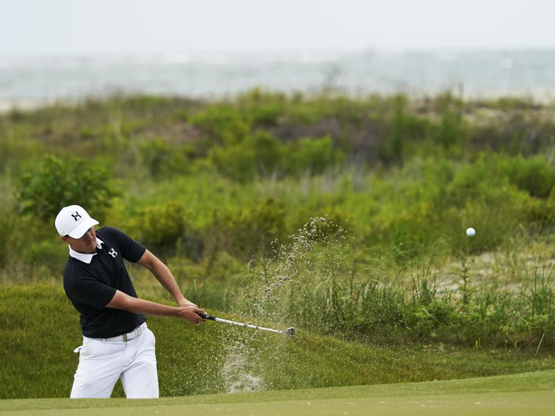 Jordan Spieth hits out of sand