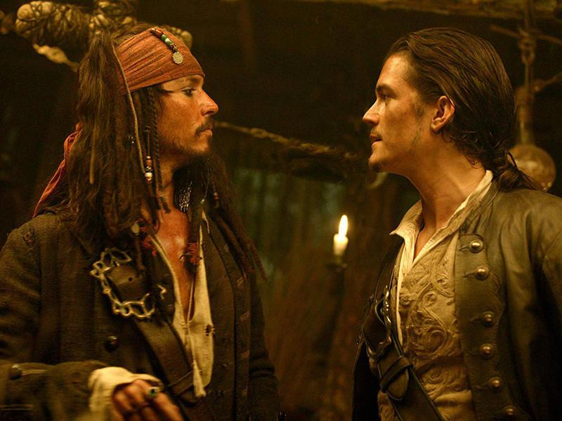 Johnny Depp and Orlando Bloom in Pirates of the Caribbean: Dead Man's Chest (2006)