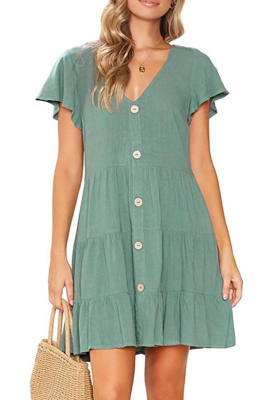 Mitilly Women's Summer Sleeveless V-Neck Button-Down Casual Pocket Swing Short Dress