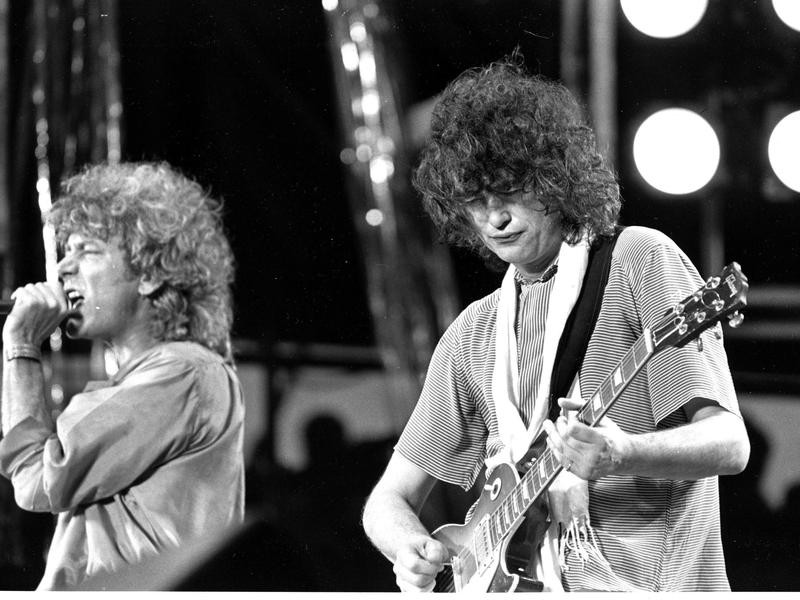 Robert Plant and Jimmy Page at Live Aid 1985 at JFK Stadium in Philadelphia