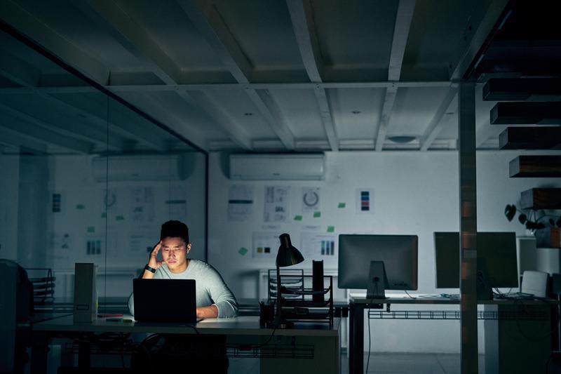 Man working a late night