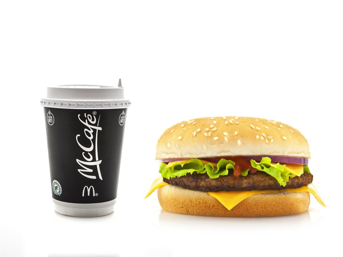 McDonald's coffee with cheeseburger