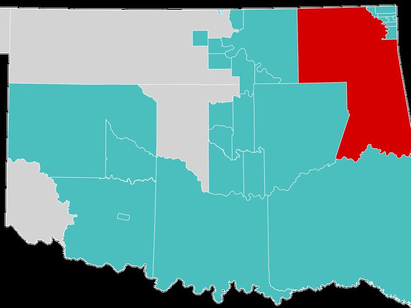 Cheroke Nation on a map of Oklahoma