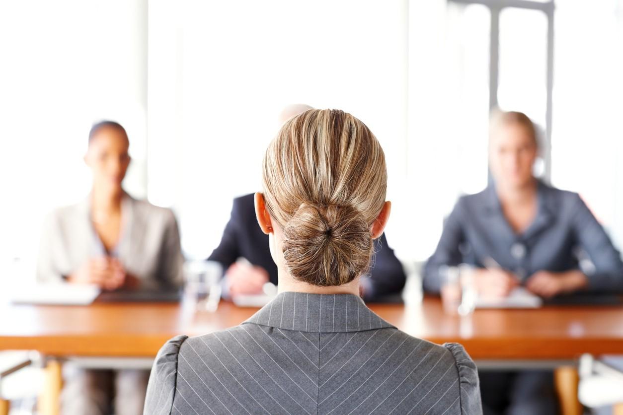 Businesswoman getting interviewed