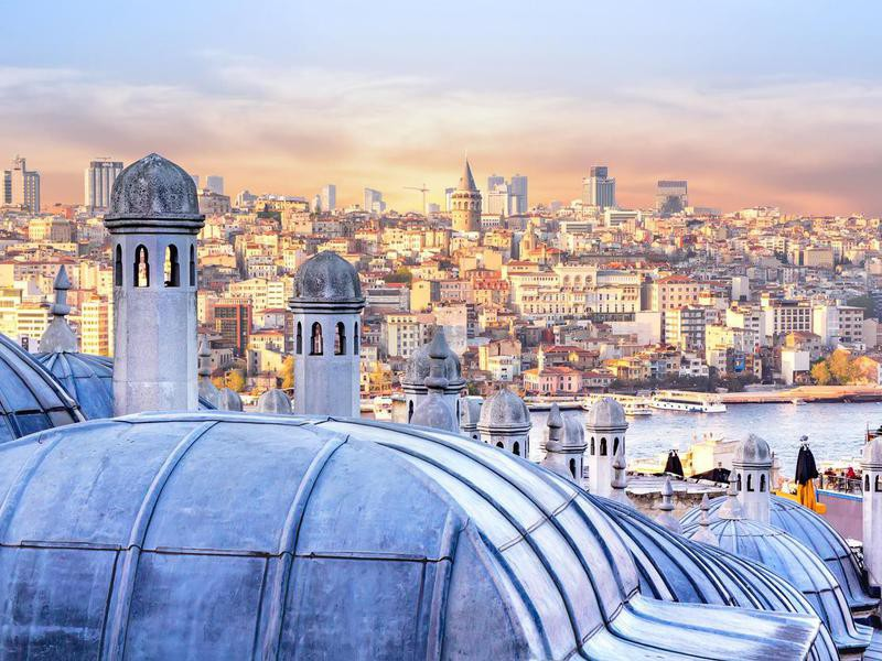 View of Istanbul and the dome of the Hagia Sophia